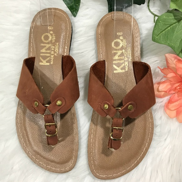 9673c111d04 KINO Key West Shoes - Kino Key West Brown Leather Handmade Thong Sandals